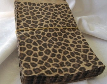50 Paper Bags, Candy Bags, Brown Paper Bags, Gift Bags, Party Favor Bags, Animal Print, Cheetah Leopard Print, Merchandise Bags 6x9
