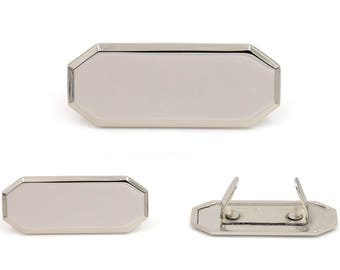 Blank Metal Name Tags Metal Labels Luggage Tags Studs Silver Tone B0302 5 pcs.