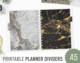 Planner Dividers / A5 / Marble Texture / Printable Tabs Planner Inserts Filofax Organizer Tabs Planner Dashboard / INSTANT DOWNLOAD