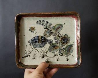 Vintage Small Ceramic Decorative Tray // Vintage Ceramic Trinket Dish // Ring Dish // Home Decor