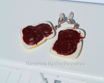 Earrings bread slices with chocolate cream- silver