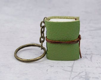Light green miniature book keychain, leather journal mini, book lover gift idea, bookish, bookworm gift, leather notebook, booklover