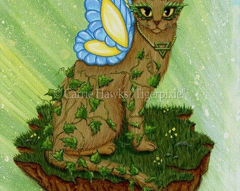 Fairy Cat Art Elemental Earth Cat Painting Ivy Butterfly Elements Art White Fairy Cat Fantasy Cat Art Print 5x7 Cat Lovers Art