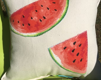 "Slices of Watermelon accent pillow about 12""X 12"" on natural canvas with blue watermelon print back"