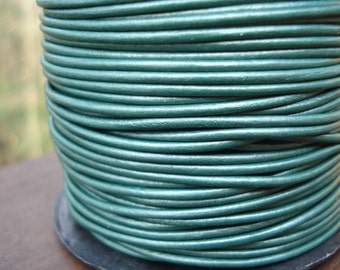1.5mm green metallic leather cord, ocean green leather