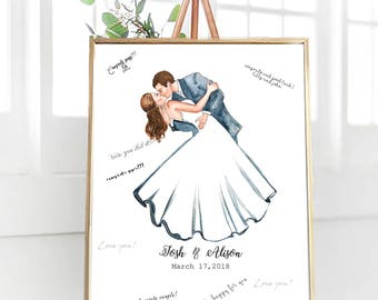 Wedding Guest Book With Couple, Couple Portrait Guestbook, Customized, Unique Wedding Guestbook Alternative, Printable Wedding Centerpiece