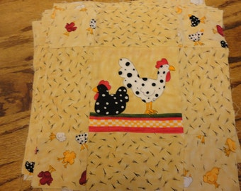 8 - 9 patch quilt  blocks with chickens