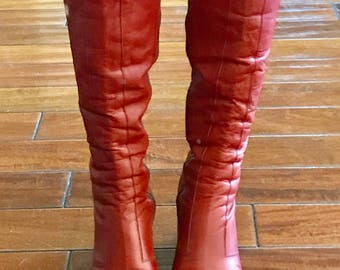 1970's Bright Burnt Orange Leather Knee High Boots Size 8
