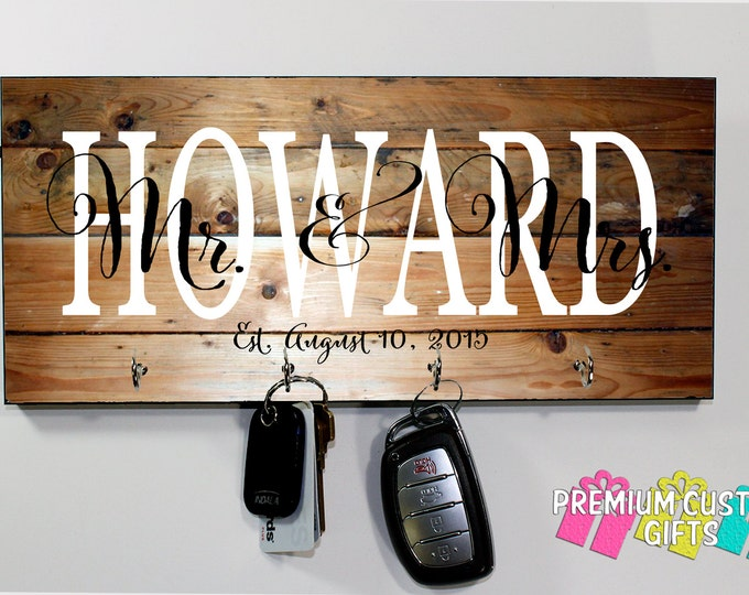 Mr and Mrs Key Hanger - Wedding, Holiday, and Anniversary Gift - Personalized Monogram MDF Key Holder - Housewarming Gift - Design #KH143