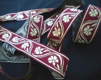 Burgundy and Gold Carnation Jacquard Ribbon  10 continuous meters/15mm