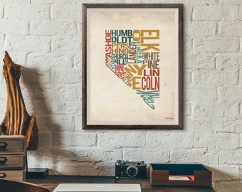 Nevada by County - Typography Print