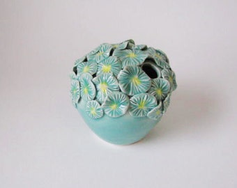 celadon blue green yellow flower / porcelain vase / echo of nature by yumiko goto