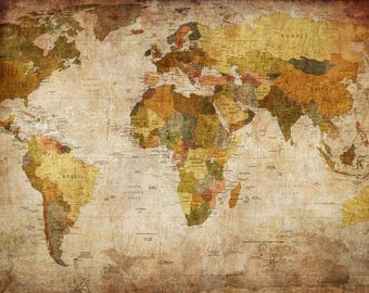 World map canvas etsy 24x36 world map canvas old fashioned antique style faded gumiabroncs Image collections