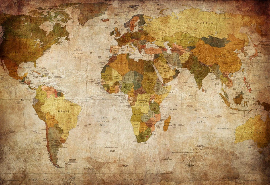 24X36 World Map Canvas Old Fashioned