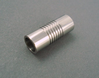 Magnetic Clasp, 6MM Etched Tube Stainless Steel Clasp for Leather or Cord, 6mm End Cap (SC6-20)