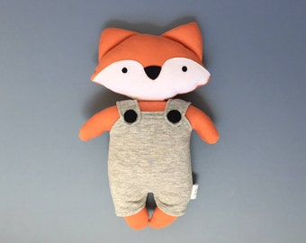 Fox soft toy fox plushie in orange with grey dungarees newborn gift baby gift baby shower gift christmas gift gifts for babies