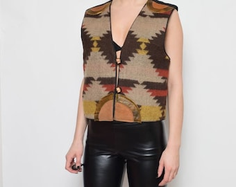 Vintage 80's Navajo Ornaments Vest / Folk Wool Vest
