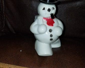 Vintage Plastic Snowman Candy Container