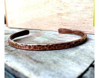Hammered Copper Adjustable Bangle (narrow cuff) Bracelet
