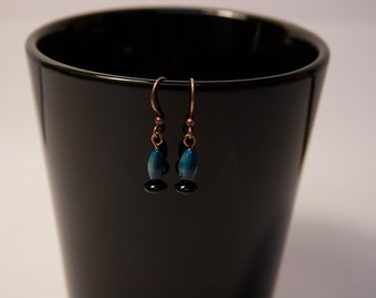 Blue and black copper earrings