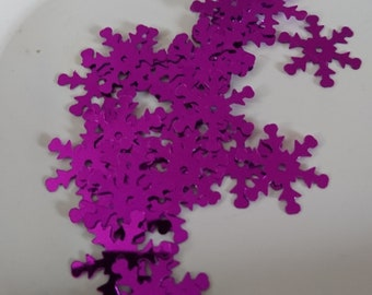 Set of 50 snowflakes purple holographic sequins