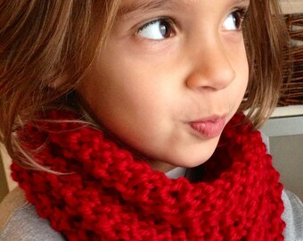 Hand Knit Girl Ruby Neck Warmer, Cowl, FREE SHIPPING in US