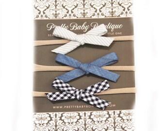 SALE Baby Headband Fabric Bow Set for Girl- Set of Newborn Girl Headbands - Infant Bow Headbands - Toddler Girl Neutrals Grey Denim Black