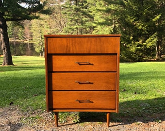 Mid Century Tallboy, Dresser, Chest of Drawers, Vintage Wood Gentlemans Chest