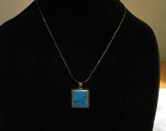 Turquoise Necklace Vintage 1960's Southwestern Square Genuine Turquoise Sterling Setting Chain Jewelry Gift Idea