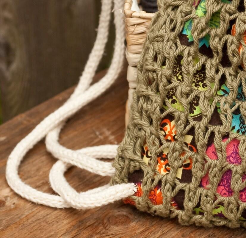 Knitting PATTERN draw string bag knit and sewn 10\