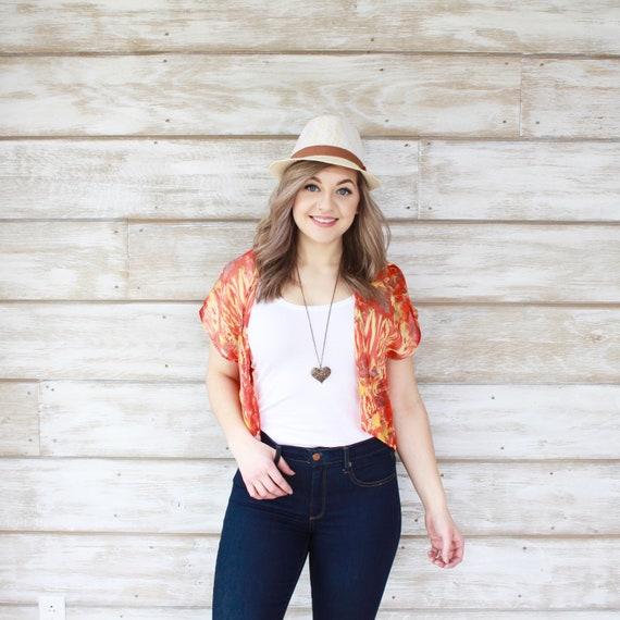 Beach Kimono Crop Top - Red/Orange