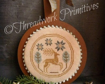 Primitive Cross Stitch Pattern - Leaping Stag Candle Board