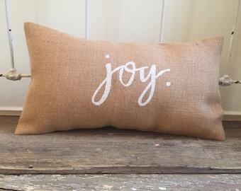 Pillow Cover | Joy pillow | Burlap pillow | Christmas pillow | Holiday pillow | Farmhouse Christmas | Burlap Christmas | Holiday Decor