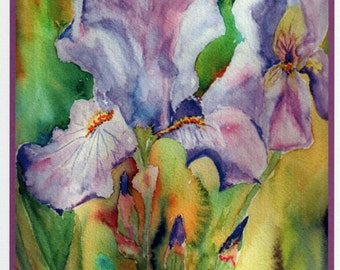 Iris Watercolor Flower Note Card.  All-Occasion 5x7 Flower Card.  Blank Inside.