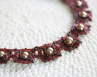 Pearl Series – Bead Woven Necklace in Glossy Red
