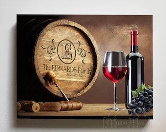 Personalized Wine Barrel Canvas Wall Art, Rustic Home Decor, Wedding Gift  Anniversary Gift Housewarming