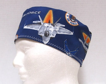 Mens Scrub Hat or Surgical Cap Air Force Planes