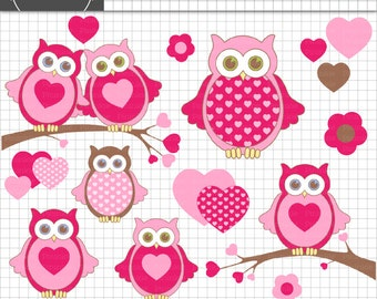 Valentine Owls Clipart, Valentine's Day Clipart, Heart clip art, Commercial use, Instant Download, Digital Clip Art, clipart ow