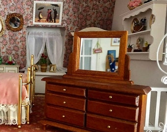 SALE Miniature Dresser with Mirror, Walnut Wood Dresser With Drawers, Dollhouse 1:12 Scale Miniature, Dollhouse Furniture, Mini Dresser
