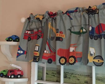 """Cars  Trucks  Helicopters Valance 70"""" wide"""