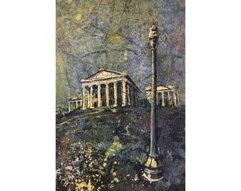 Capital building of Richmond, Virginia (USA).  Richmond painting batik watercolor art.  Watercolor batik painting wall art green print
