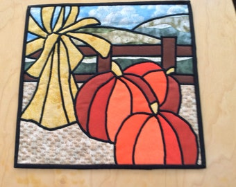 """Fall Cathedral Window Wallhanging, 12"""" Square"""