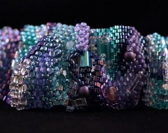 Freeform Peyote Aqua and Purple Bracelet