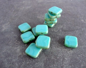 Czech Glass Bead, Square Aqua Table Cut Beads, Picasso Beads, 10 beads 11mm