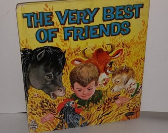 1963 child's book Very Best Friends color animal illustrations art scrap children's story book Vintage paper supplies