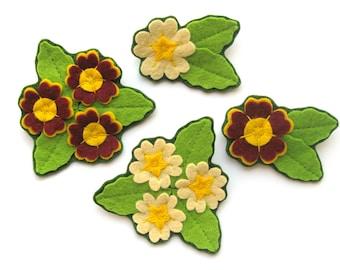 Felt Primroses & Auriculas Tutorial, PDF, sew spring felt flower brooches