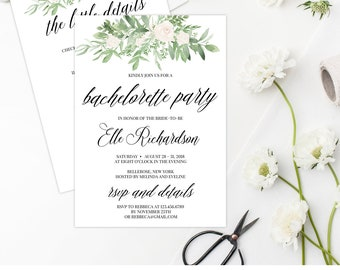 Greenery and White Floral Bachelorette Party Invitation Template. Printable Bridal Shower Invitation. Instant Download Editable PDF BP012