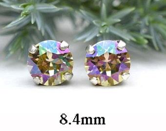 8.4mm, Luminous Green, Stud Earrings, Crystal Stud Earrings, Rhodium Plated, Rhinestone Studs, Luminous Green Studs, xirius