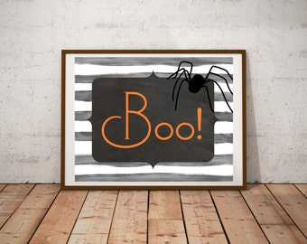 Boo - Halloween - Digital Print - Poster - Instant Download - Printable - Orange - Black