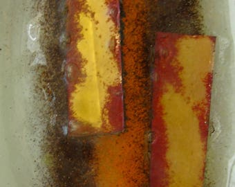 Vintage Fused Glass Platter/ Frosted Look with Gold, Orange, and Brown/ 7 inches x 10 inches/ Retro Art/ Unique Design